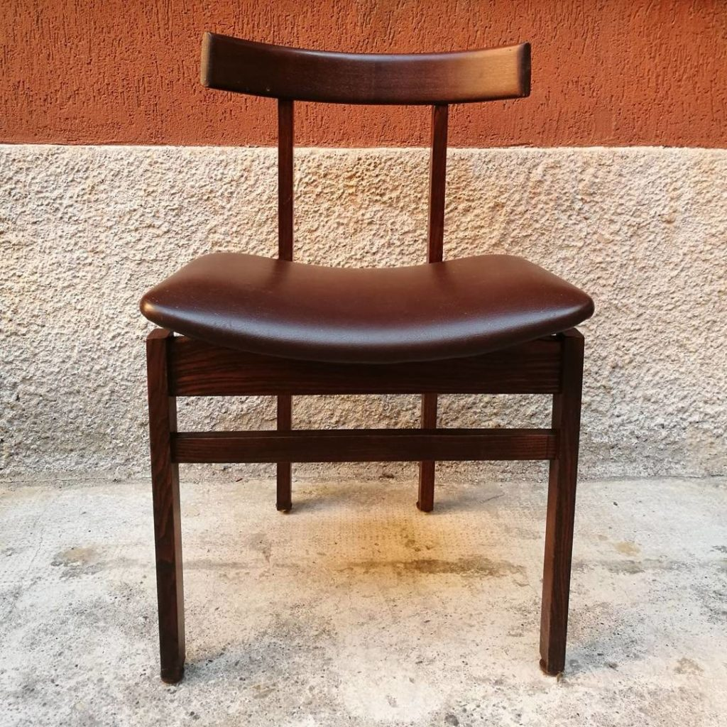 Sedie danesi in pelle marrone — Magazzino76