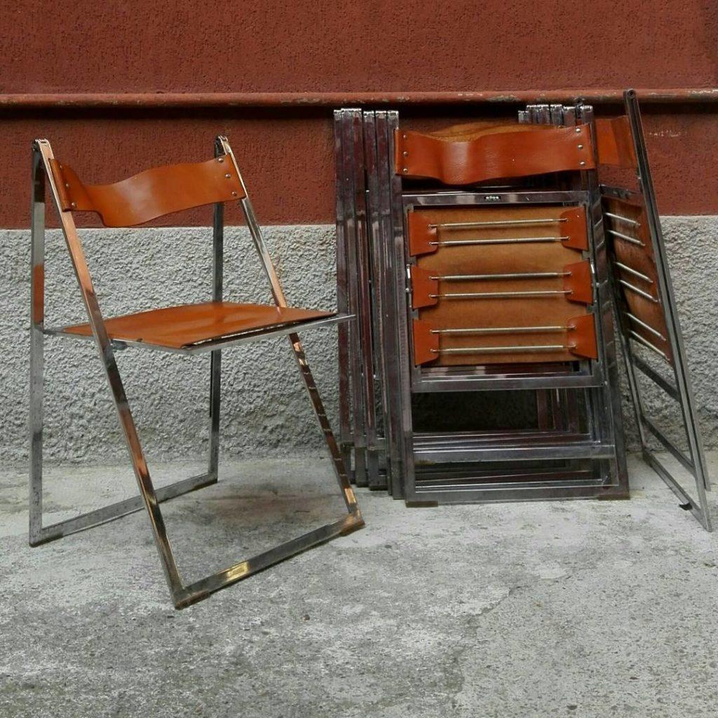 Sedie Pieghevoli In Pelle.Sedie Pieghevoli In Acciaio Magazzino76